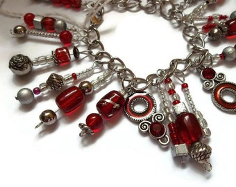 Liquidation SALE see coupons Red Charm Silver Bracelet Red Jewelry Silver Jewelry