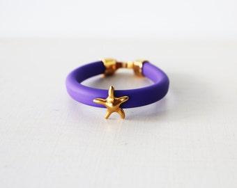 Purple rubber bracelet, Gold star bracelet, Gold Starfish Cuff, Summer bracelet, Gold rubber cuff, Purple arm candy, Purple cord bracelet