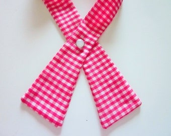 Womens Crisscross Tie, White and Pink Gingham, Continental Tie, Scout Tie, Handmade