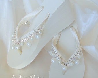 Ivory wedges Bridal flip flops. 3 1/2 inches bridal sandal. Flip flops, Ivory flip flops wedding heel. Devine Dream Collection MDW00001