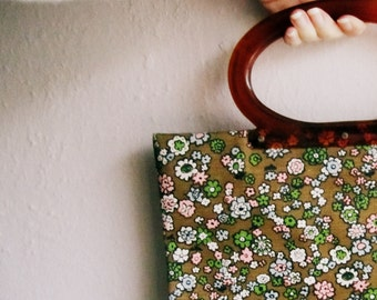 Lucite Handle Purse // 60s handbag // Green and Pink Floral Print Fabric Tote // Folding