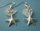 Genuine Sea Glass and Sterling Silver Starfish Earrings