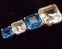 Vintage Art Deco Glass Chrome Clip Pin Blue Clear Glass STUNNING