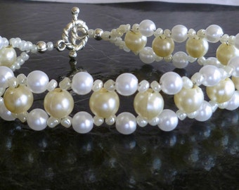 """Right angle weave RAW bead bracelet in cream and white glass pearls """"Champagne Bubbles"""""""
