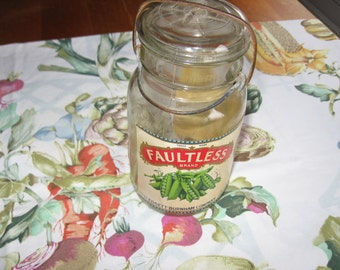 Faultless Brand Peas Ball Quik Seal Jar and Label