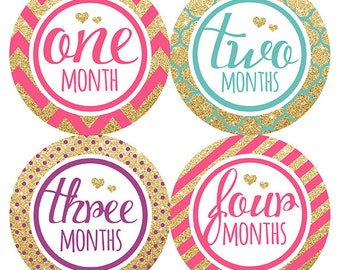 FREE GIFT, Baby Month Sticker Girl Gold Glitter, Monthly Baby Sticker, Glitter Baby Belly Stickers, Baby Milestone Stickers Girl