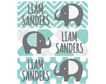 Daycare Name Labels, Gender Neutral, Boy, Girl, Waterproof Name Labels, Name Labels, School Name Labels, Elephants, Teal, Gray, Grey