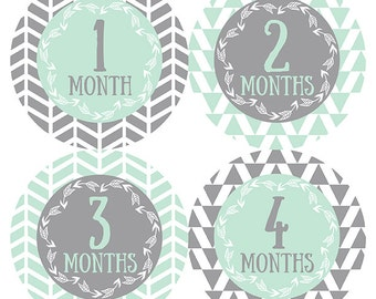 FREE GIFT, Tribal Baby Month Stickers, Gender Neutral, Monthly Baby Stickers, Baby Month Stickers, Belly to Baby, Mint, Gray, Grey, Tribal