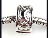 Celestial - MOON & STARS - Rhodium Plated - Clip Lock Stopper - Great Quality - fits European Bracelets - ML