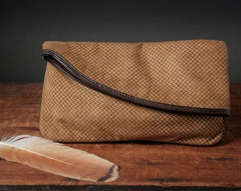 Vintage suede clutch bag, Palizzio clutch purse, herringbone tweed pattern clutch.