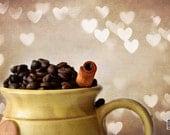 Coffee with cinamon, Heart bokeh, Coffee love, Heart coffee, Coffee shop art, Kitchen decor, Coffee lover gift
