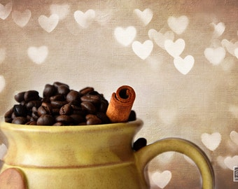 Coffee Beans, Kitchen art, Cup of coffee, Food photography, Cappuccino print, Café décor, Dining room décor, Coffee lovers gift,Coffee print
