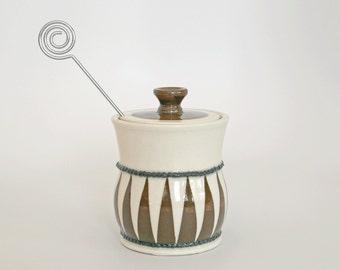 Brown Black & White Jester Honey Pot