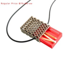 3d printed necklace- Matchbox Pendant in Stainless Steel and Red, Deep - modern, geometric jewelry, personalized, sale