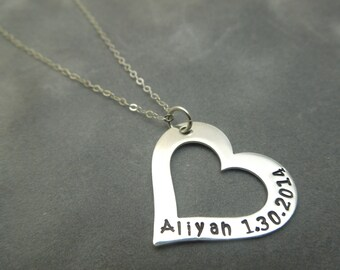 Personalized sterling silver Open Heart hand stamped  mothers necklace