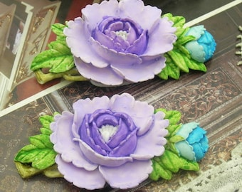 2 Pcs Big Beautiful  Peony Cabochon Colourful-Hand Painted32x67mm(FB3201)
