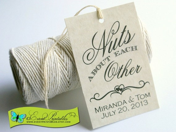 Free Printable Wedding Gift Tags: Nuts About Each Other Printable Wedding Favor Tags Bridal