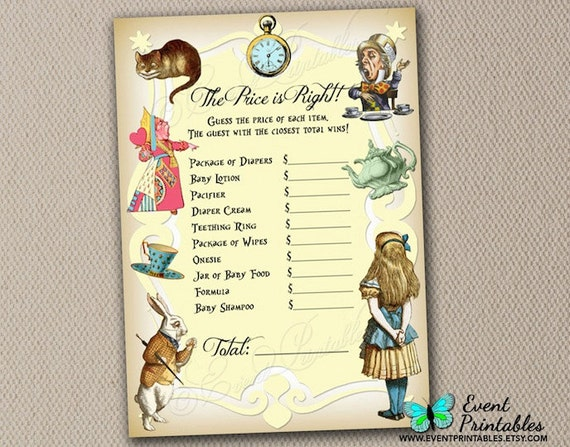 Alice in Wonderland Price is Right Game Card by EventPrintables