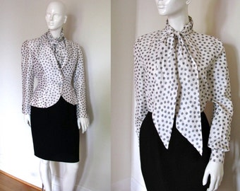 Vintage Bill Blass Designer 3 Piece Polka Dot Skirt Suit Set with Jacket and Blouse Special Occasion Wedding