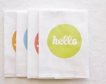 Hello Kitchen Tea Towel, Flour Sack Towel, Cotton Towel,  Home Decor, Gift, Words, Text