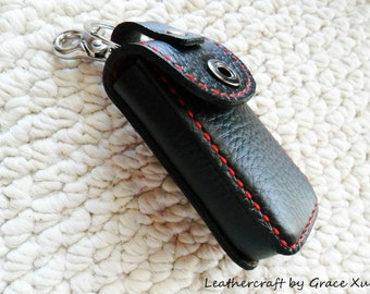 100% hand stitched handmade black cowhide leather car remote key fob holder/ case with swivel snap hook and key ring