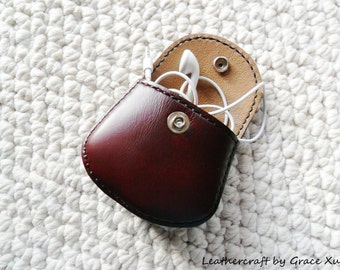 100% hand stitched handmade mahogany cowhide leather Ipod, ear buds, coin, trinket, jewelry,case / pouch