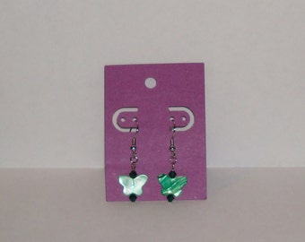 "1"" L  x  1/4"" W   Green Shell Butterfly w/ Matching Crystal Earrings"