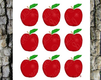 Red Apples Printable Art, Hand Drawn Art, Kitchen Food Fruit Digital Wall Art, PNG, JPG, PDF