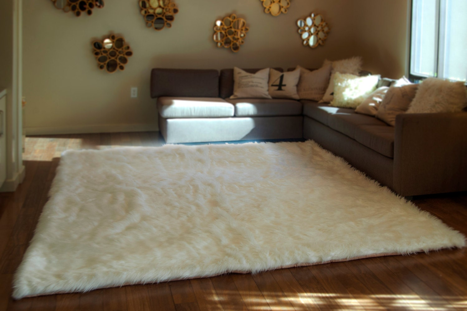10 X 12 White Shaggy Fur Faux Fur Rug Rectangle