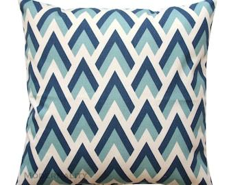 Toss Pillows, Zapp Felix Blue Pillow Cover, Zippered Pillow, Chevron Pillow, Blue Herringbone Pillow, Triangle Pillow, Bed Pillows, Couch