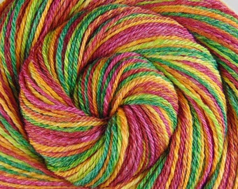 Handspun Yarn Worsted weight - CITRUS SPLASH - Merino / Bamboo / Silk, 270 yds, handspun weft yarn, gift for knitter, crochet yarn