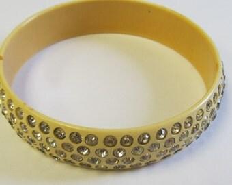 Vintage Celluloid and Rhinestone Bangle Bracelet