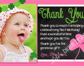 St. Patrick's Day Birthday Thank You Card Shamrock Thank You Card Chalkboard Pink and Green Photo Option Customizable Printable