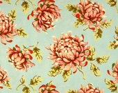 Heather Bailey Fabric - Freshcut Blue Painted Mums , PWHB030 Westminster , Free Spirit