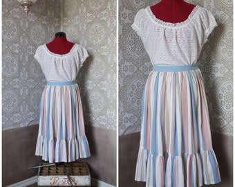 Vintage 1970's 80's Striped Gauzy Cotton Skirt S/M