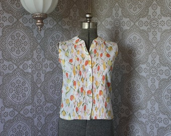 Vintage 1960's Ship'n Shore Easy Care Light Weight Cotton Sleeveless Shirt with Tulip Print Medium