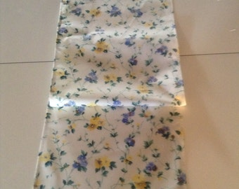Handmade Yellow Floral English Country Fabric by Laura Ashley Table Runner /Scarf 12 .5 x 48.5 ins