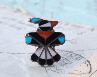 Vintage Zuni Thunderbird Brooch - Coral, Onyx, Turquoise, Shell Inlay