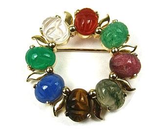 Vintage Scarab Beetle Multi Colored Stone 14K Gold Brooch