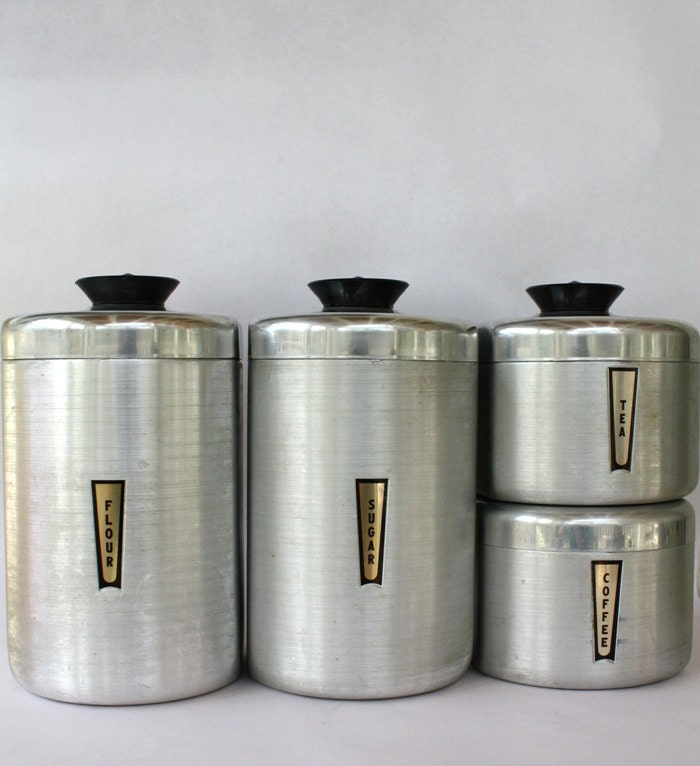 Metal Kitchen Storage Set Aluminum Baking Canisters by