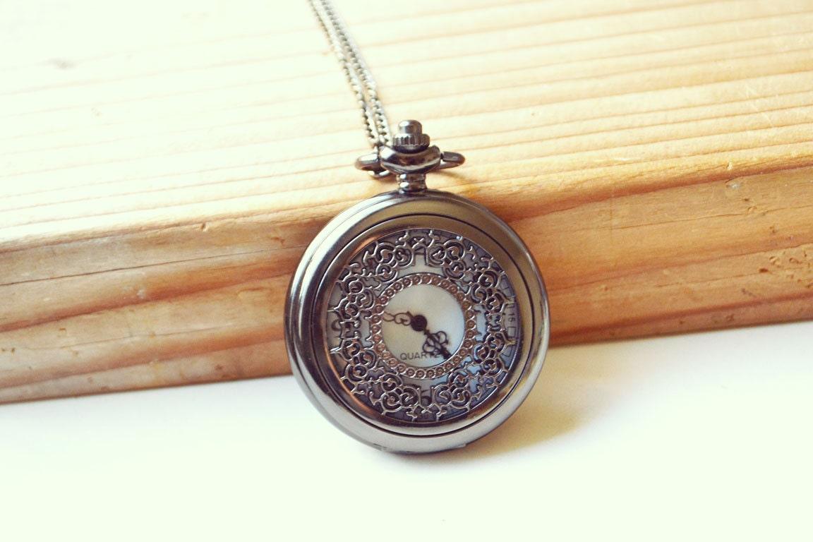 gunmetal filigree pocket necklace