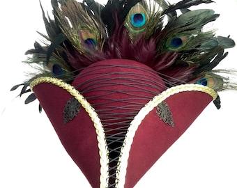 Steampunk pirate burgundy tricorn costume hat