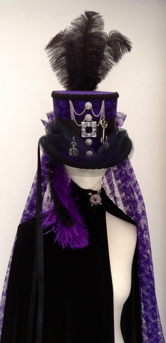 Steampunk purple mad hatter top hat