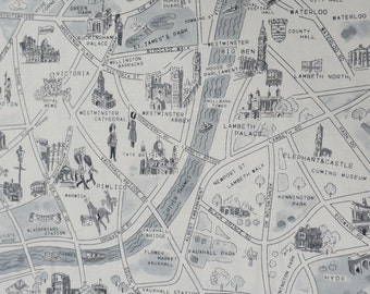 Passport London map cotton fabric in Black and white for Moda fabric 33012 16
