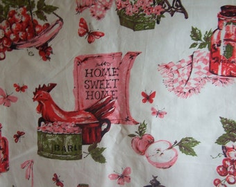 """SALE ~ 35"""" x 3.5+ yards Vintage 1960s Kitchen Rooster Cotton Home Dec Fabric Yardage"""