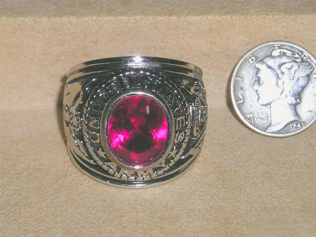 Vintage Us Army Man S Ring With Stone Military Size 9