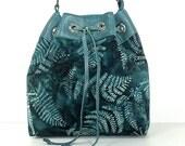 Leather and Fabric Bucket Bag/ Green Teal Leaf Print/ Teen Gift/ Small Adjustable Shoulder Bag