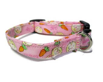 Happy Easter Bunny Pink Dog Collar size Extra Small