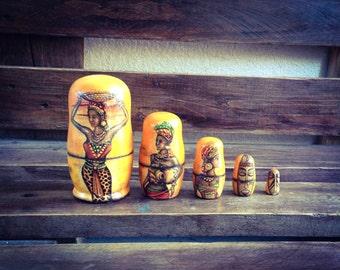 African Matryoshka Doll, Afro Nesting Dolls 5 pcs, Tribal Home Decor, Rustic, Orange and Brown