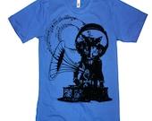 Music Cat T-Shirt / Men's Vintage Phonograph Tshirt / American Apparel Shirt